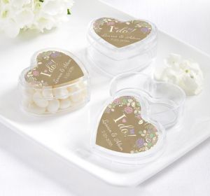 PERSONALIZED Wedding Heart-Shaped Plastic Favor Boxes (Printed Label) (I Do)