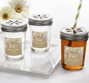 PERSONALIZED Wedding Mason Jars with Daisy Lids (Printed Label) (I Do)