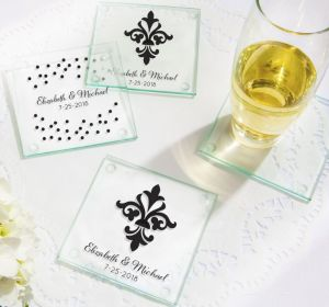 PERSONALIZED Wedding Glass Coasters, Set of 12 (Printed Glass) (Black, We're Engaged Crowns)