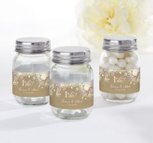 PERSONALIZED Wedding Mini Glass Mason Jars (Printed Label) (I Do)
