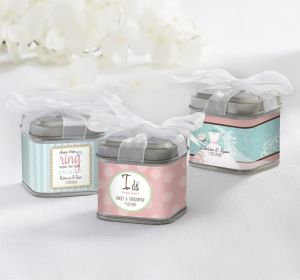 PERSONALIZED Wedding Favor Tins with Bows (Printed Label ) (Ring Engaged)