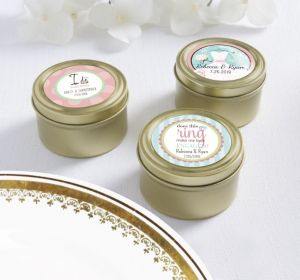PERSONALIZED Wedding Round Candy Tins - Gold (Printed Label ) (Ring Engaged)