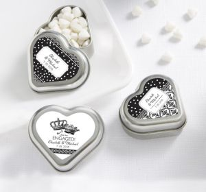 PERSONALIZED Wedding Heart-Shaped Mint Tins with Candy (Printed Label) (We're Engaged Crowns)