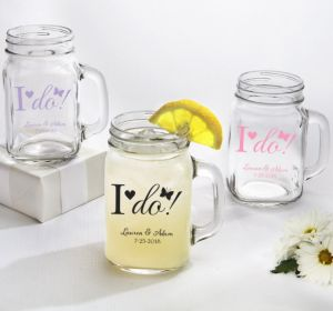 PERSONALIZED Wedding Mason Jar Mugs (Printed Glass) (Pink, I Do)