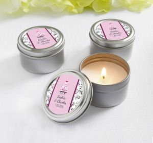 PERSONALIZED Wedding Candle Tins (Printed Label) (Sweet Wedding Cake)