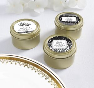 PERSONALIZED Wedding Round Candy Tins - Gold (Printed Label) (We're Engaged Crowns)