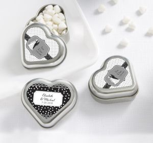 PERSONALIZED Wedding Heart-Shaped Mint Tins with Candy (Printed Label) (Black & White Wedding)