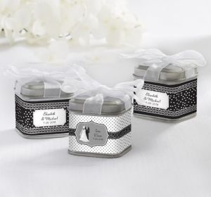 PERSONALIZED Wedding Favor Tins with Bows (Printed Label) (Black & White Wedding)