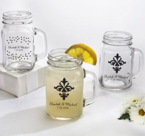 PERSONALIZED Wedding Mason Jar Mugs (Printed Glass) (White, Damask & Dots)