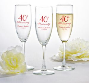 PERSONALIZED Wedding Champagne Flutes (Printed Glass) (Red, 40th Anniversary)