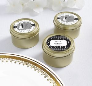 PERSONALIZED Wedding Round Candy Tins - Gold (Printed Label) (Black & White Wedding)