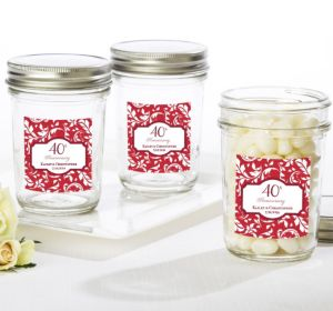 PERSONALIZED Wedding Mason Jars with Solid Lids (Printed Label) (40th Anniversary)
