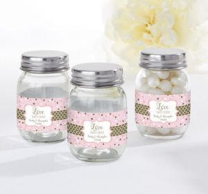 PERSONALIZED Wedding Mini Glass Mason Jars (Printed Label) (Sparkling Pink Wedding)