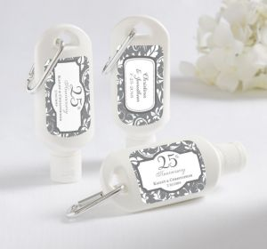 PERSONALIZED Sunscreen Wedding Favors (Printed Label) (Silver Elegant Scroll)