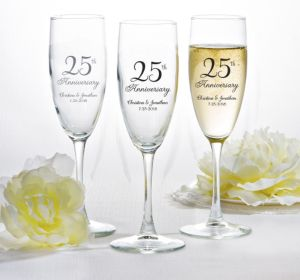 PERSONALIZED Wedding Champagne Flutes (Printed Glass) (Silver, 25th Anniversary)