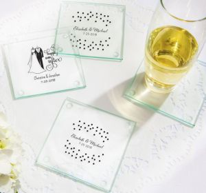PERSONALIZED Wedding Glass Coasters, Set of 12 (Printed Glass) (White, Happily Ever After)