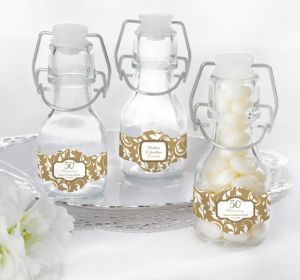 PERSONALIZED Wedding Glass Swing Top Bottles (Printed Label) (50th Anniversary)