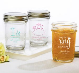 PERSONALIZED Wedding Mason Jars with Solid Lids (Printed Glass) (White, I Do Woo Hoo)