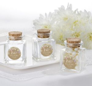 PERSONALIZED Wedding Small Glass Bottles with Corks (Printed Label) (I Do)