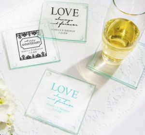 PERSONALIZED Wedding Glass Coasters, Set of 12 (Printed Glass) (White, Always & Forever Phrase)