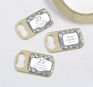 PERSONALIZED Wedding Bottle Openers - Gold (Printed Epoxy Label) (25th Anniversary)