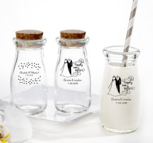 PERSONALIZED Wedding Glass Milk Bottles with Corks (Printed Glass) (White, Happily Ever After)