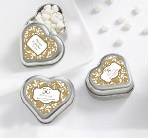 PERSONALIZED Wedding Heart-Shaped Mint Tins with Candy (Printed Label) (Gold Elegant Scroll)