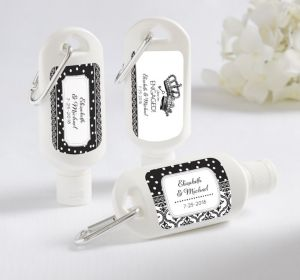 PERSONALIZED Sunscreen Wedding Favors (Printed Label) ( Damask & Dots Engagement)