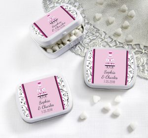 PERSONALIZED Wedding Mint Tins with Candy (Printed Label) (Sweet Wedding Cake)