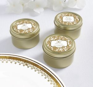 PERSONALIZED Wedding Round Candy Tins - Gold (Printed Label) (Gold Elegant Scroll)