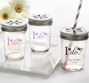 PERSONALIZED Wedding Mason Jars with Daisy Lids (Printed Glass) (Pink, I Do)