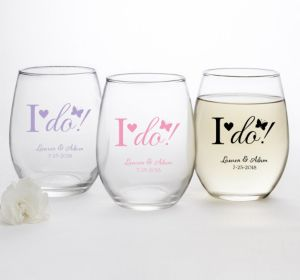 PERSONALIZED Wedding Stemless Wine Glasses 15oz (Printed Glass) (White, I Do)