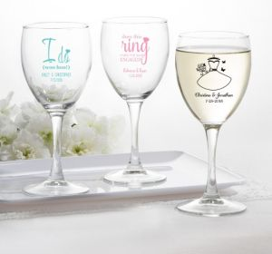 PERSONALIZED Wedding Wine Glasses (Printed Glass) ( Black, I Do Woo Hoo)