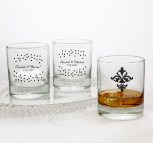 PERSONALIZED Wedding Rocks Glasses (Printed Glass) (Black, We're Engaged Crowns)