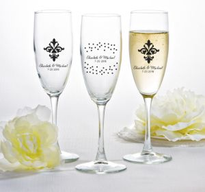 PERSONALIZED Wedding Champagne Flutes (Printed Glass) (Black, We're Engaged Crowns)