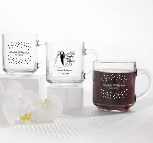 PERSONALIZED Wedding Glass Coffee Mugs (Printed Glass)