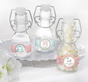 PERSONALIZED Wedding Glass Swing Top Bottles (Printed Label) (I Do Woo Hoo)
