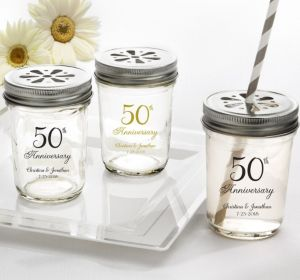PERSONALIZED Wedding Mason Jars with Daisy Lids (Printed Glass) (Gold, 50th Anniversary)