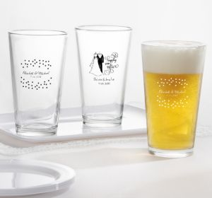 PERSONALIZED Wedding Pint Glasses (Printed Glass) (White, Happily Ever After)