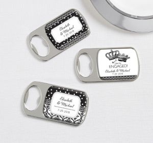 PERSONALIZED Wedding Bottle Openers - Silver (Printed Epoxy Label) (Damask & Dots)