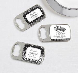 PERSONALIZED Wedding Bottle Openers - Silver (Printed Epoxy Label) (Damask & Dots)
