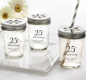 PERSONALIZED Wedding Mason Jars with Daisy Lids (Printed Glass) (Silver, 25th Anniversary)