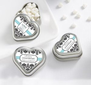 PERSONALIZED Wedding Heart-Shaped Mint Tins with Candy (Printed Label)