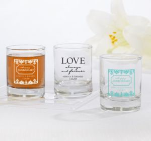 PERSONALIZED Wedding Shot Glasses (Printed Glass) (White, Always & Forever Phrase)