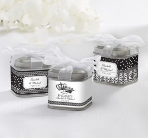 PERSONALIZED Wedding Favor Tins with Bows (Printed Label) (Damask & Dots Engagement)