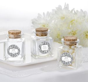PERSONALIZED Wedding Small Glass Bottles with Corks (Printed Label) (25th Anniversary)