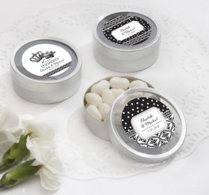 PERSONALIZED Wedding Round Candy Tins - Silver (Printed Label) (Damask & Dots Engagement)