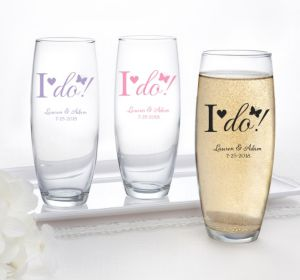 PERSONALIZED Wedding Stemless Champagne Flutes (Printed Glass) (Lavender, I Do)