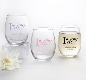 PERSONALIZED Wedding Stemless Wine Glasses 9oz (Printed Glass) (Pink, I Do)