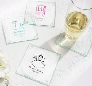 PERSONALIZED Wedding Glass Coasters, Set of 12 (Printed Glass) (Pink, Blushing Bride Dress)